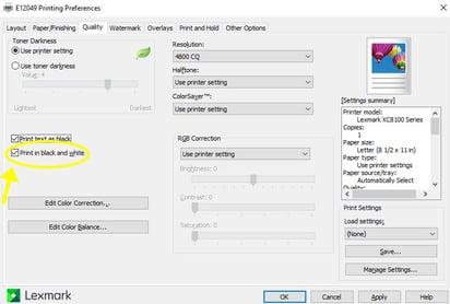 Windows BW Settings